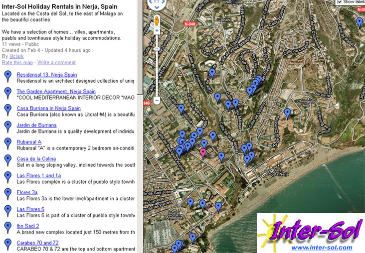 Click on the map to see your Nerja destination Los Pinos, Carabeo, Hacienda, Bajamar, Residenol, Garden Apartment, Casa Burriana, Las Palmeras, Acapulco Playa, Verde Mar - apartments, villas, townhomes.